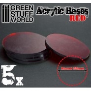 Acrylic Bases - Round 55 mm CLEAR RED
