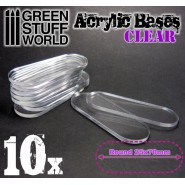 Acrylic Bases - Oval Pill 25x70mm CLEAR