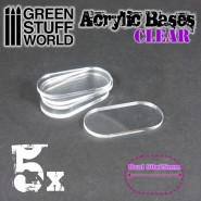 Acrylic Bases - Oval Pill 50x25mm CLEAR
