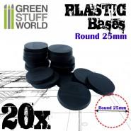 Plastic Bases - Round 25mm BLACK
