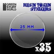 35x Resin Token Stickers 25mm