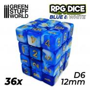 36x D6 12mm Dice - Blue White