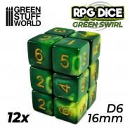12x D6 16mm Dice - Green Swirl