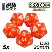 5x D20 20mm Dice - Orange