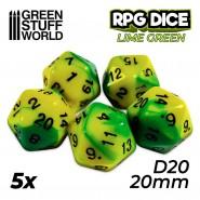5x D20 20mm Dice - Lime Swirl