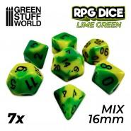 7x Mix 16mm Dice - Lime Swirl
