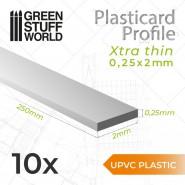 uPVC Plasticard - Profile Xtra-thin 0.25mm x 2mm