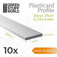 uPVC Plasticard - Profile Xtra-thin 0.25mm x 4mm
