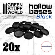Hollow Plastic Bases - BLACK 25mm