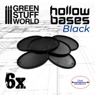 Hollow Plastic Bases - BLACK Oval 60x35mm
