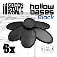 Hollow Plastic Bases - BLACK Oval 75x42mm