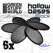 Hollow Plastic Bases - BLACK Oval 90x52mm