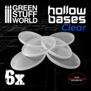 Hollow Plastic Bases -TRANSPARENT - Oval 60x35mm